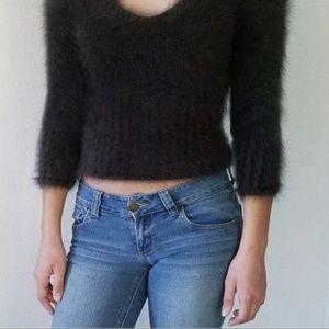 Fuzzy 80% Angora Sweater EXPRESS Black V Neck 3/4